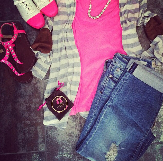 bestselling cardigan and distressed jeans get a little glam with neon pink and bling
