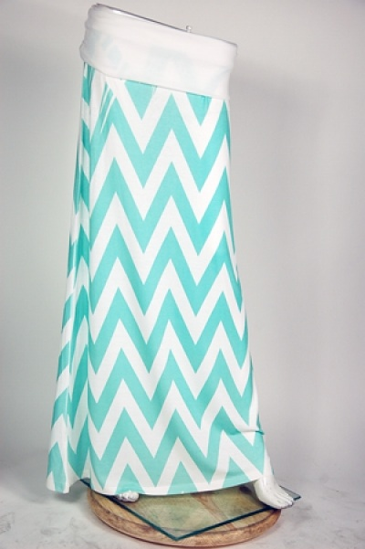 Mint chevron maxi skirt!