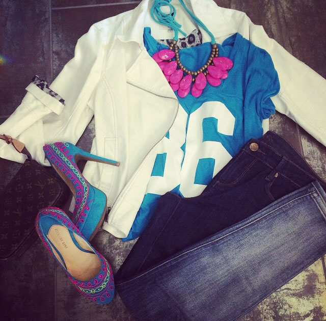 Graphic tee, leather jacket, killer heals ,statement necklace, clutch your favorite pair of kut from the kloth jeans!