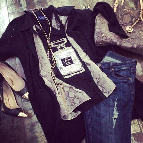 kutfromkloth, classic graphic tee, black gold snakeskin michealKors , sweater cardigan