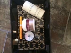Donna Karen deodorant, lip balm, eyelash serum, moisturizer