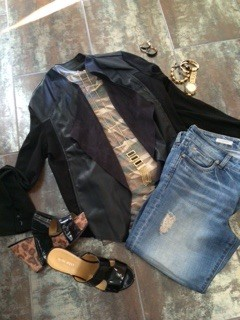 Kut from the Kloth jacket and jeans, Steve Madden shoes and camo long sleeve tee old